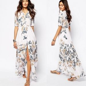 Free People After the Storm Floral Button Maxi